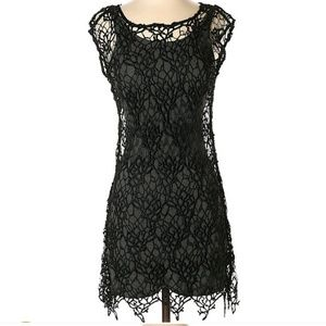 HD in Paris Black Embroidered Lace Dress